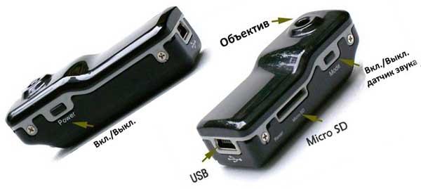Органы управления мини камерой MD80